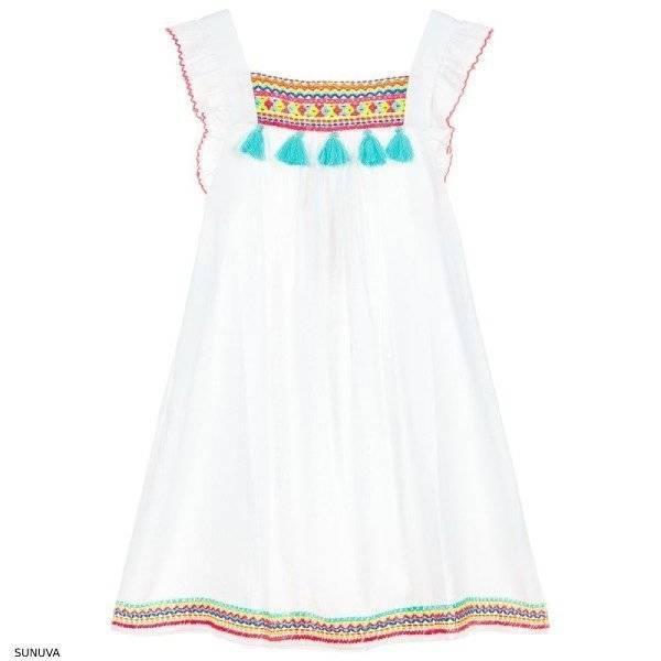 Sunuva White Beach Embroidered Tassel Dress