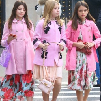Suri Cruis Pretty Pink in NYC Dolce & Gabbana Girls Rosetto Floral Silk Mini Me Dress