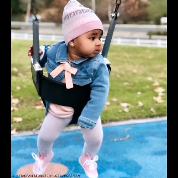 True Thompson Khloe Kardashian Daughter Chloe Baby Girl Denim Blue Jacket Pink Bow
