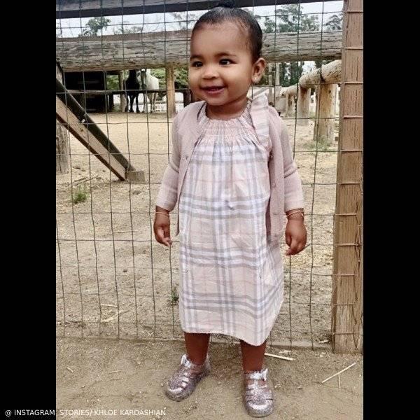 Ture Thompson Daughter of Khloe Kardashian Burberry Baby Girls Pink Cotton Check Dress