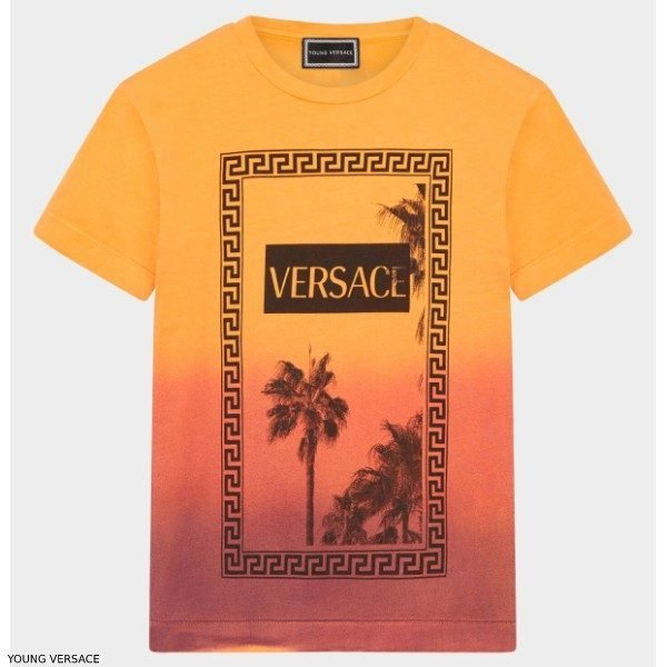 Young Versace Boys Orange Sunset Jungle Print Tshirt