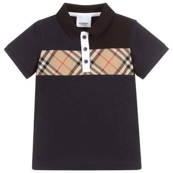 Burberry Boys Navy Blue Vintage Check Polo Shirt