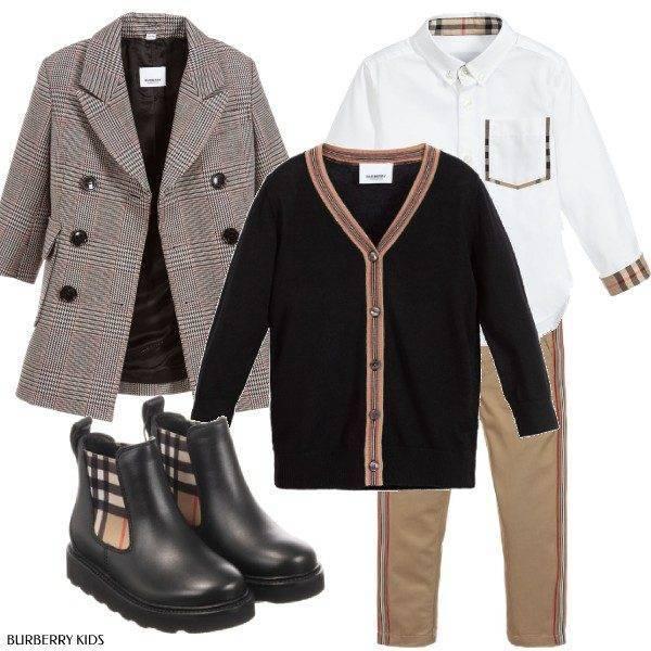Burberry Boys Back to School 2019 Burberry Boys Grey Check Wool Blend Coat