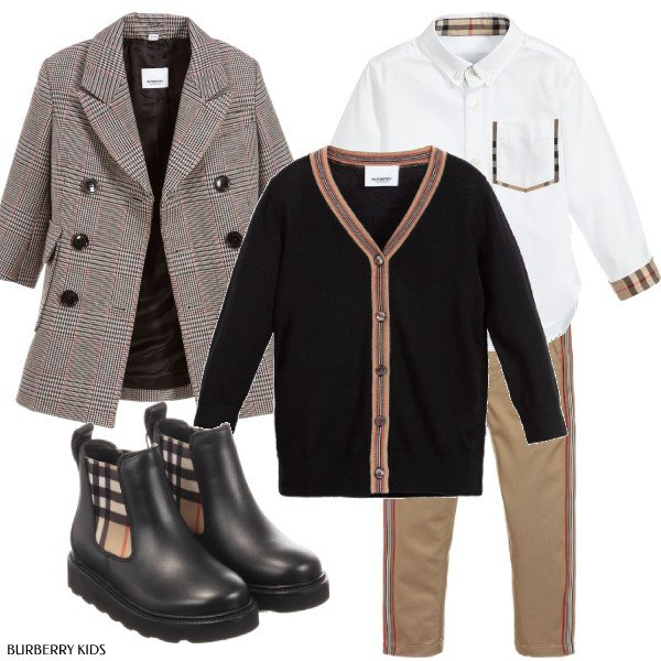 Burberry Boys Grey Check Wool Blend Coat