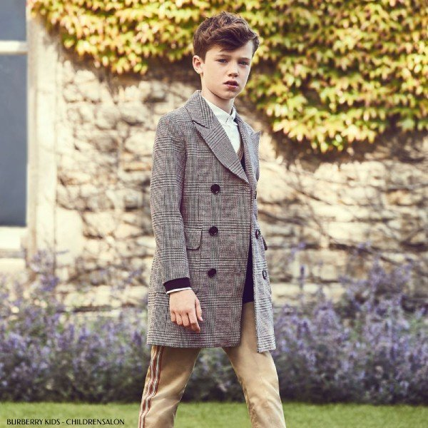 Burberry Boys Grey Check Wool Blend Coat & Black Wool Cardigan