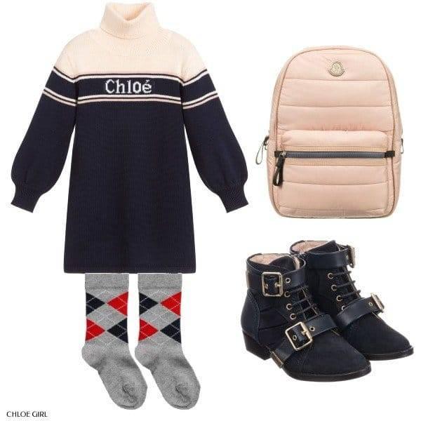 Chloé Blue Cotton Turtleneck Dress