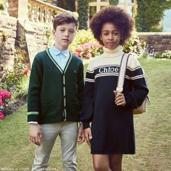 Chloe Girls Blue White Turtleneck Dress Boys Mayoral Green Cardigan Sweater