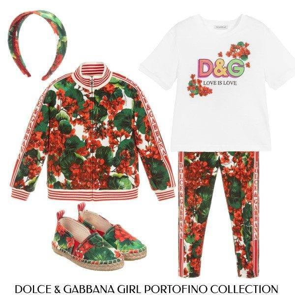 Docle Gabbana Girl Portofino Mini Me Geranium Print Sweatshirt Joggers
