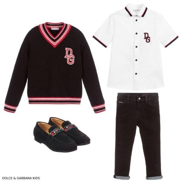 Dolce & Gabbana Boys Black DG Logo Preppy Sweater