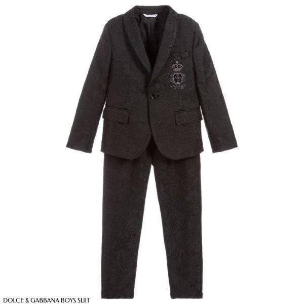 Dolce Gabbana Boys Black Crown Logo DNA Trend Suit