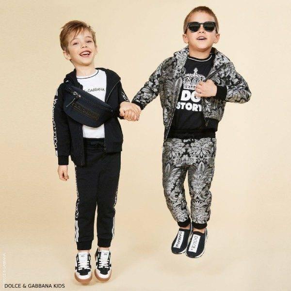 Dolce Gabbana Boys Black Silver Mini Me Jacquard Jacket and Pants