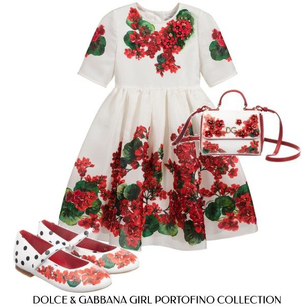 Dolce Gabbana Girl Ivory Silk Mini Me Portofino Dress