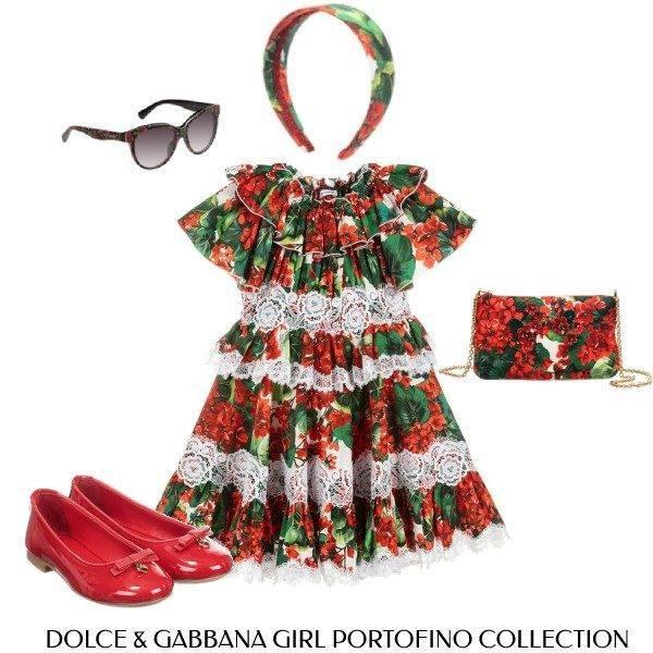 Dolce Gabbana Girl Mini Me Geranium Lace Portofino Dress