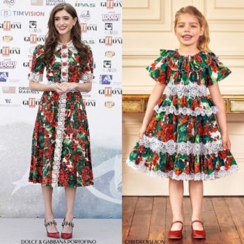 Dolce Gabbana Girl Mini Me Red Geranium Lace Portofino Dress Actress Natalia Dyer Giffoni Film Festival