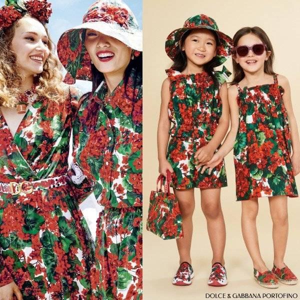 Dolce & Gabbana Girls Mini Me Ivory & Red Cotton Geranium Portofino Dress