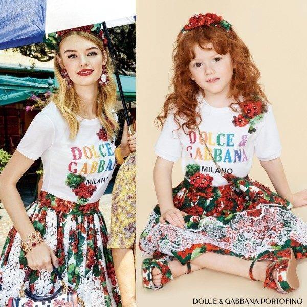 Dolce & Gabbana Girls Mini Me Love is Love Geranium Portofino Dress