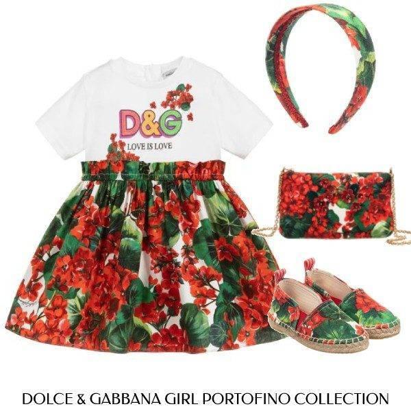 Dolce & Gabbana Girls Mini Me Love is Love Geranium Portofino Dress Look