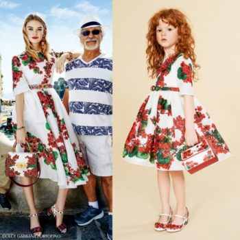 Dolce Gabbana Mini Me Girls Portofino Red Geranium Print Dress