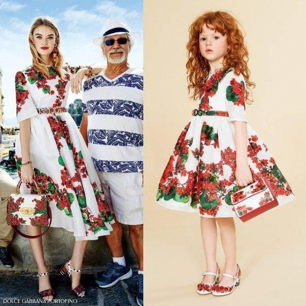 Dolce Gabbana Mini Me Girls Portofino Red Geranium Print Dress