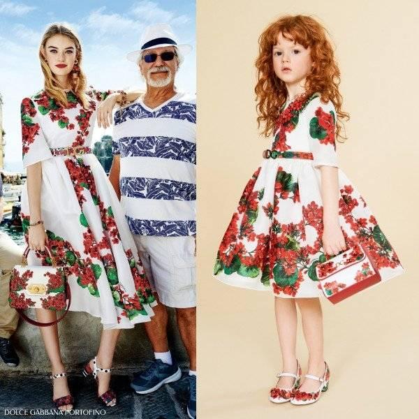 Dolce & Gabbana Girls Mini Me Ivory & Red Silk Geranium Portofino Dress