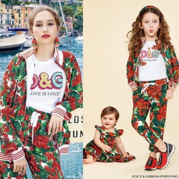 Dolce Gabbana Mini Me Red Green Geranium Sweatshirt Jogger Portofino Collection