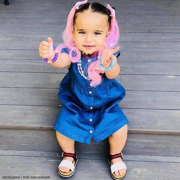 Dream Kardashian Gucci Baby Girl Blue Denim Heart Button Down Dress