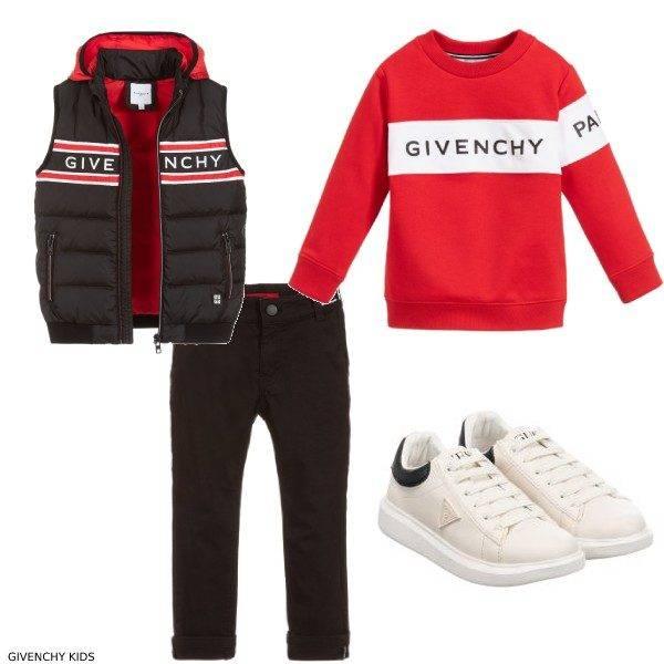 Givenchy Kids Black Down Vest Red Logo Sweatshirt