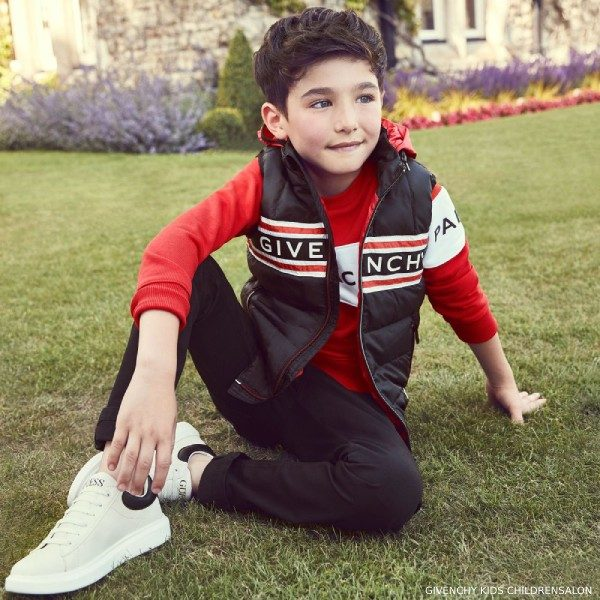 Givenchy Kids Boys Black Down Vest Red Logo Sweatshirt