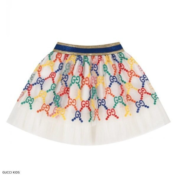 Gucci Girl White Rainbow GG Logo Skirt