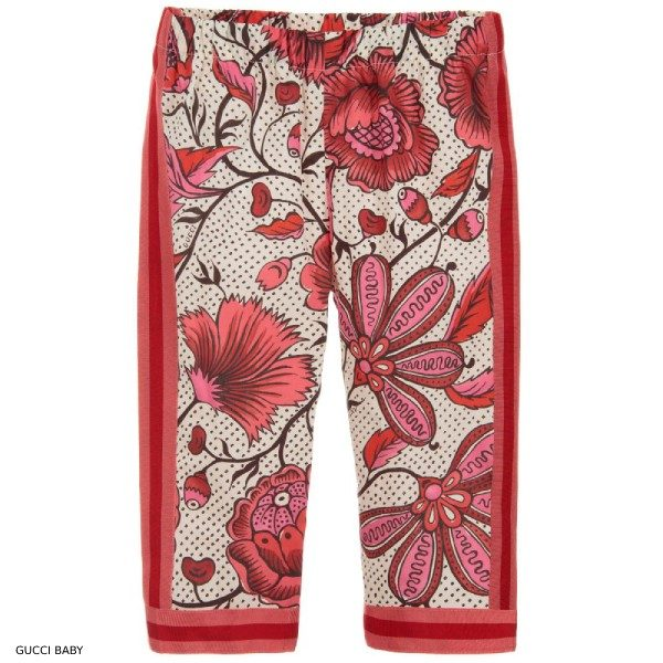 Gucci Girls Pink Flower Print Pants