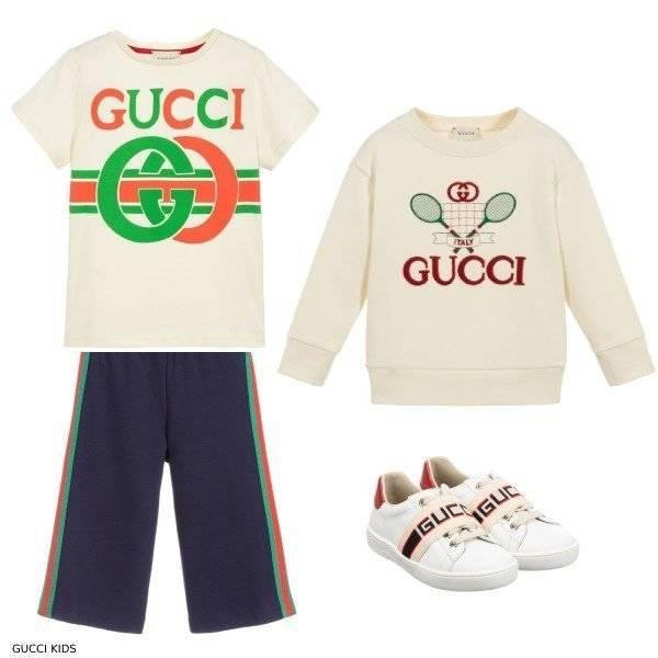 Gucci Kids Ivory Tennis Sweatshirt Logo Shirt Blue Strip Culotte Pants