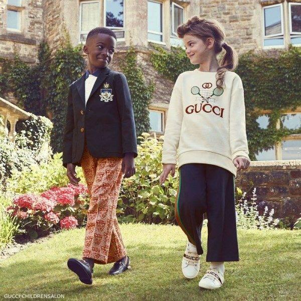 Gucci Kids Ivory Tennis Sweatshirt & Navy Blue Logo Blazer