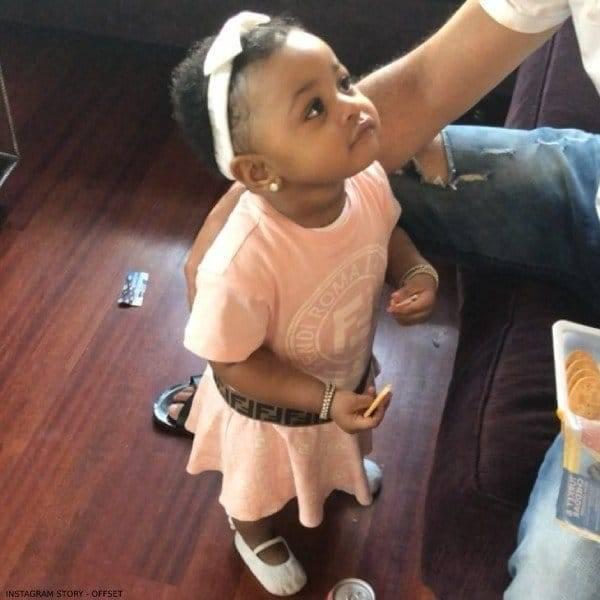Offset's Daughter Kulture - Fendi  Baby Girl Pink & Brown Logo Dress