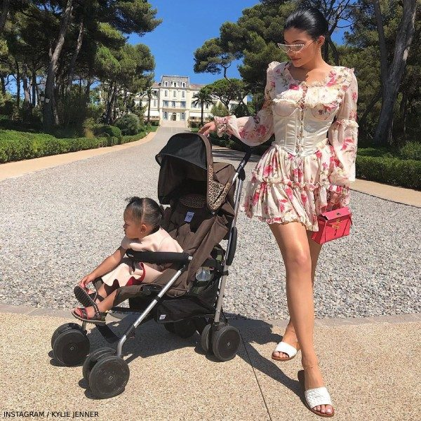 Kylie Jenner Stormi Webster Fendi Baby Pink Neoprene Bow Dress Antibes France