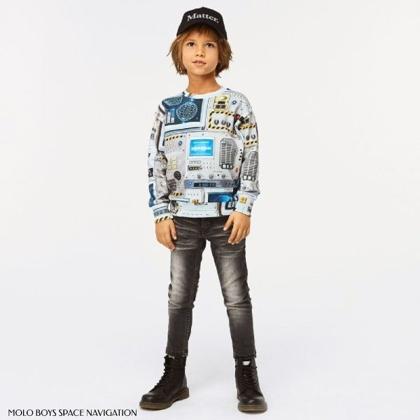Molo Boys Space Navigation Sweatshirt Outfit