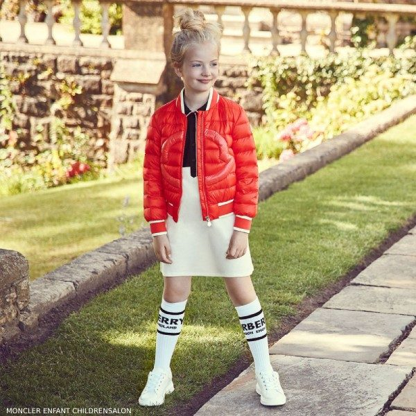 Moncler Enfant Red Down Jacket & Navy Blue Ivory Polo Dress