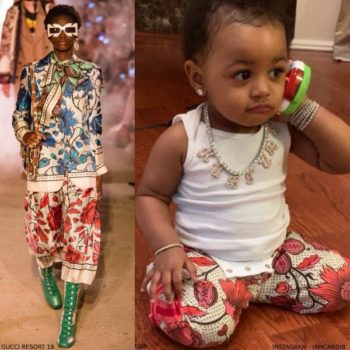 Offset's Daughter Kulture - Gucci Baby Girls Mini Me Pink Flower Print Pants