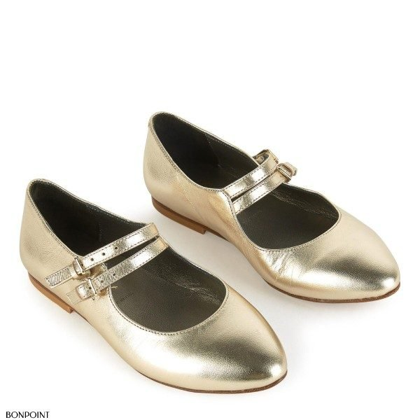 BONPOINT Gold Leather Dress Shoes