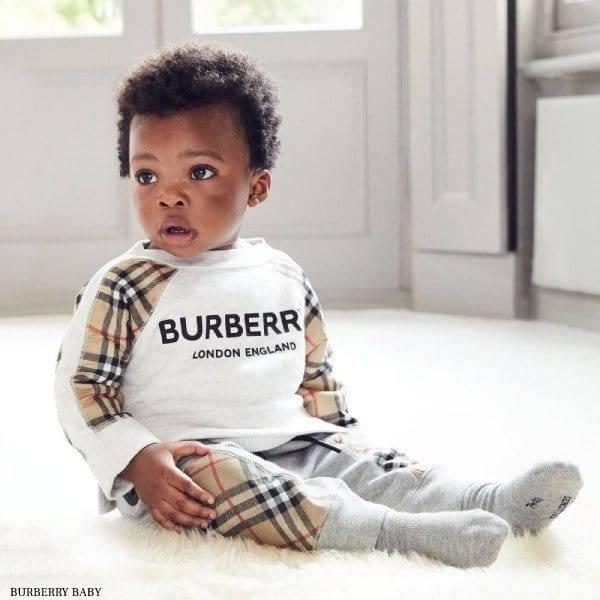 Burberry Baby Girl Grey Vintage Check Sweatshirt & Joggers
