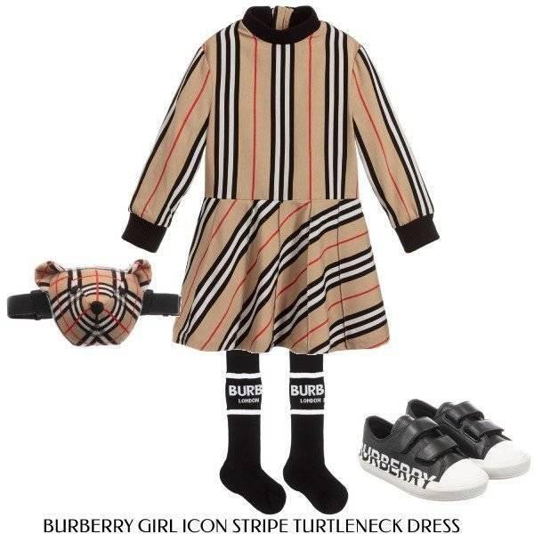 Burberry Girl Beige Icon Stripe Turtleneck Dress