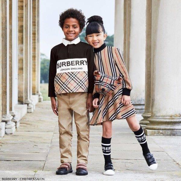 Burberry Girl Beige Icon Stripe Turtleneck Dress Boys Black Vintage Check Logo Polo Shirt