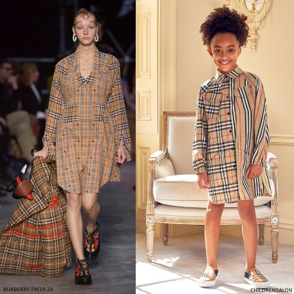 Burberry Girls Mini Me Vintage Check Icon Stripe Cotton Shirt Dress