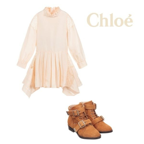 CHLOE MINI ME GIRL LIGHT PINK SILK LACE COUTURE DRESS BROWN SUEDE BOOTS