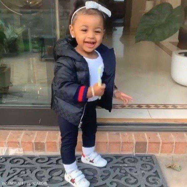 Cardi B Daughter Kulture Cephus Gucci Navy Blue Logo Down Jacket