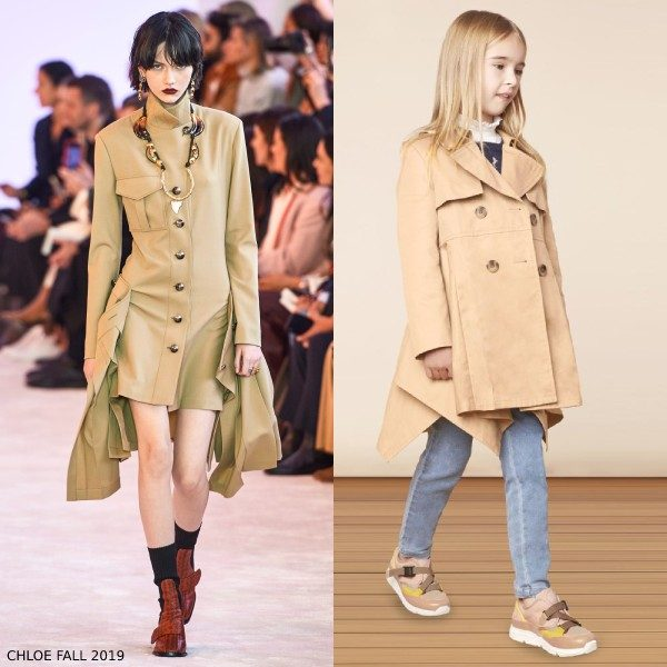 Chloe Girl Mini Me Beige Asymmetric Trench Coat