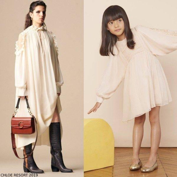 Chloe Girl Mini Me Light Pink Silk Couture Dress