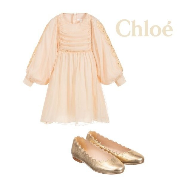 Chloe Girl Mini Me Light Pink Silk Couture Dress Gold Leather Ballet Flat Shoes