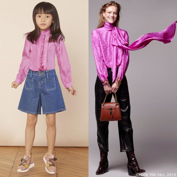 Chloe Girl Mini Me Pink Silk Blouse