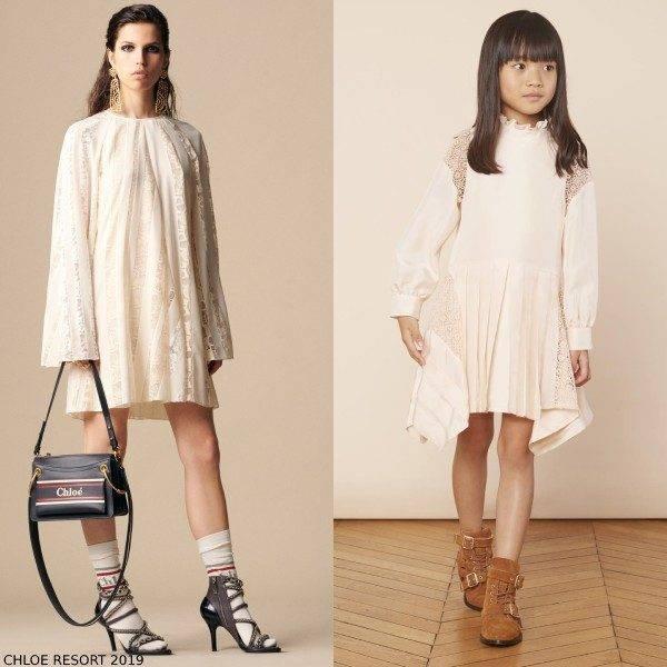 Chloe Mini Me Girl Light Pink Silk Lace Couture Dress