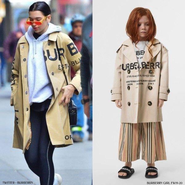 Dua Lipa Burberry Girl Mini Me Beige Horseferry Print Trench Coat